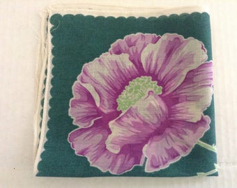 Vintage Handkerchief / Purple Poppy