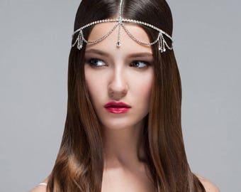 Bohemian Forehead Chain, Rhinestone Headpiece, Bridal Head Chain, Forehead Chain, Gypsy Hair Halo, Hair Swag Halo