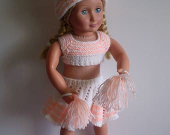Hand knitted 18 inch Cheerleader outfit for poplar dolls