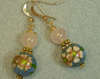Vintage Chinese Cloisonne RARE Periwinkle Blue Bead Dangle Drop Earrings -Pink White Flowers, Vintage Rose Quartz Beads,Gold Ear Wires