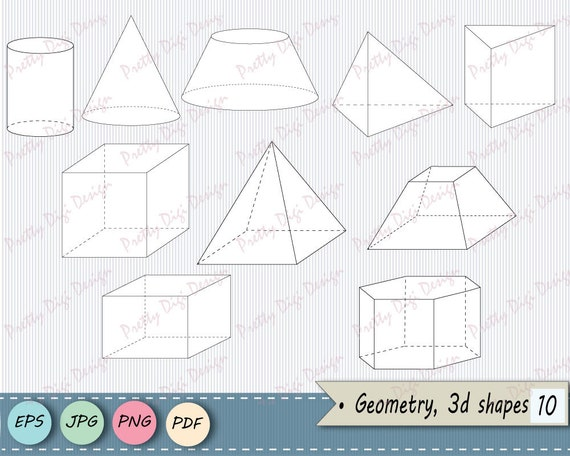 Instant download 3D Shapes, Geometry Clip art, Math Shapes, Geometric  shapes, Pyramid, Cylinder, Cube, Digital shapes, PNG, JPG, vector EPS