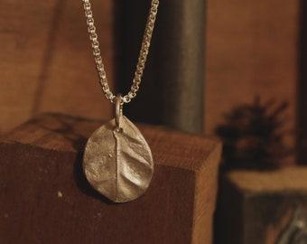 Salal Leaf Necklace- fine silver