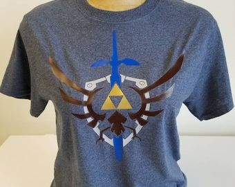 Legend of Zelda Hylian Shield w/ Mastersword & Triforce - Custom Designed HTV on 100% Cotton Gildan T-Shirt!