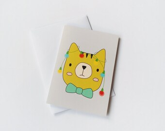 Cute Christmas card, Holiday greeting card, Cat with christmas lights