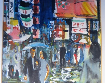 Chinatown Watercolor by Frank Lowe