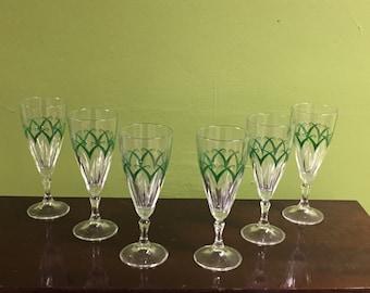 Crystal set of champagne glasses.