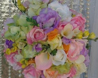 SALE Large Rainbow Pastel Wedding Bouquet Colorful Bridal  Rose Peony