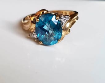 Vintage Blue topaz ring Diamonds 10K Heirloom jewelry Gift for her December birthstone Statement ring Cocktail ring