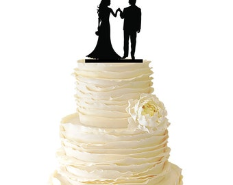 Couple Holding Hands Side By Side - Acrylic or Baltic Birch Wedding/Special Event/Engagement Cake Topper - 032