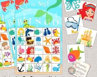 Digital Under the Sea Bingo, Printable Mermaid Bingo, Ocean Animals Bingo for Kids, Summer party game, Mermaid party game, preschool game