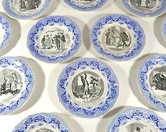 French Divorce Themed Antique Plates Set of 12 Dessert Plates c.1920 & Antique plates | Etsy