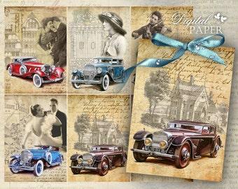 Auto Vintage - digital collage sheet - set of 6 - Printable Download