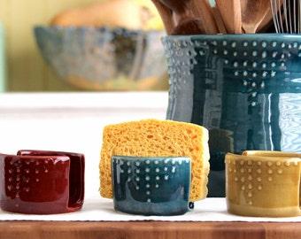 Kitchen Sponge Holder - Custom Color Choice - Dot Design - Modern Home Decor - MADE TO ORDER