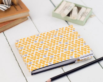 A6 Suits Sketchbook, yellow, grey and mustard pattern fabric journal, notebook with plain paper suitable for drawing and painting