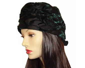 Christian Dior Hat, Iridescent Black and Green Flocked Satin, Vintage 1960s