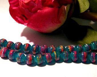 50 glass beads 8 mm drawn - beads-glass Blue - 1 H01