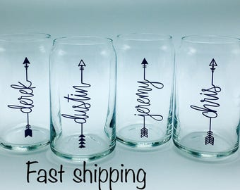 Sets of 4-12   Personalized beer can glasses  Font style 10 bride tribe/bridesmaid gift