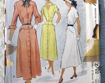 Vintage 50s Shirt Dress.  McCall 7702 Sewing Pattern. Size 14