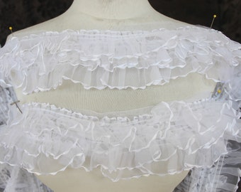 Cute  ruffled   trim  white    color  1 yard listing