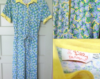Vintage Lilly Pulitzer Dress, Vintage Dress, Yellow, Blue, Lilly, Lilly Pulitzer, 60s, Dress, Easter, Spring, Pansies, Shirtwaist, Collar
