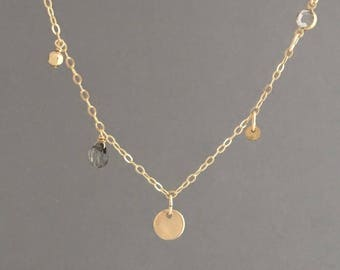 Mixed Gold Disc with Labradorite and Swarovski Crystal Necklace also in Sterling Silver and Rose Gold Fill