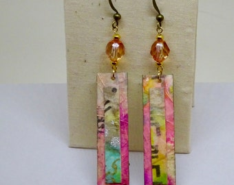 Watercolor Collage Earrings, Paper, Mother's Day, Paper Anniversary