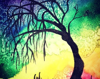 Rainbow Willow - Original Watercolor Painting