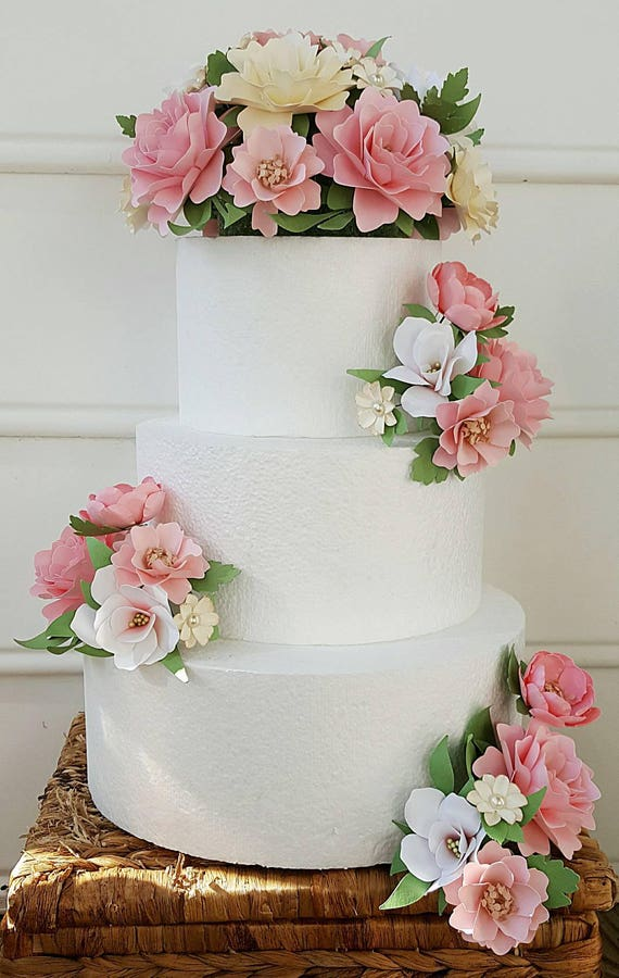 Cake flowers flower wedding cake paper flowers cake mightylinksfo