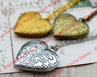 Vintage Style Heart Lockets Pendant Necklace