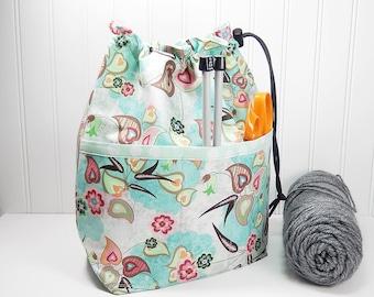 Drawstring knitting crochet bag, knitting bag, gift for knitter, work in progress tote, sock knitting bag, knitters gift, wip made in Maine