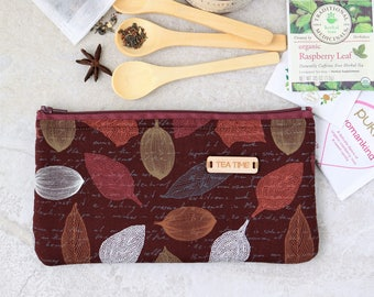 Tea wallet, Travel Tea bag holder, Fabric Tea bag wallet, zippered pouch, Tea bag holder, Tea Accessories, Tea Lover gift by SaidoniaEco