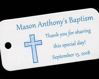 Baptism Favor Tags - Christening Favor Tags - Personalized - Blue Cross - Gift Tags - Personalized Favor Tags - Baby Boy Baptism
