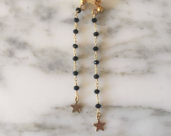 Earrings with rosary and stars. Symmetrical and not. Gold-plated silver clasp.