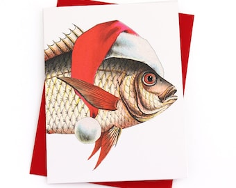 Nautical Christmas Cards, Funny Christmas Card Set, Merry Fishmas Holiday Cards