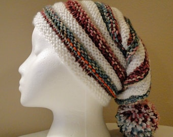 Knit Adult Ribbed Stocking Hat, Ski Hat, Toboggan Hat, Winter Hat with Pom Pom in Bright Colors and White