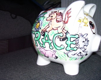 Personalized Piggy Bank  Farm Theme Cows Tractor Horse Handpainted