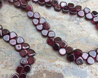 Garnet Teardrop Beads, Flat Garnet Teardrop Beads, Grade A Garnet Beads, 15 1/2 inch strand, 5mm
