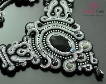 Soutache Necklace Kelabu, gemstone necklace, black necklace, onyx necklace, gray necklace, big black necklace, handmade necklace, embroidery