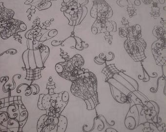 Loralie sewing theme fabric Dress forms 2 Yards Cotton