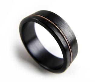 Black wedding ring Etsy