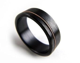 Black Zirconium Ring, Guitar String Ring, Black Metal Ring, Guitar String Jewelry, Black Ring Men, Black Ring Women, Wedding Ring,Black Band