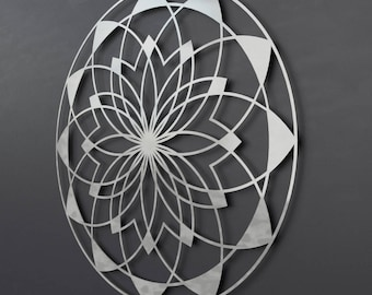 Lotus Mandala Metal Wall Art Sculpture, Large Metal Wall Decor, Sacred Wall Art, Modern Metal Wall Art, Silver Metal Wall Art, Loft Wall Art