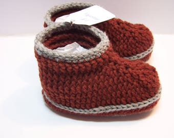 Rust and gray baby booties toddler loafers size 18 months