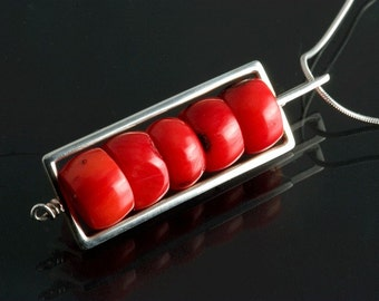 Sterling Silver Red Coral Bambo Bead Rectangle Pendant, Valentine Red Necklace, Coral Silver Necklace