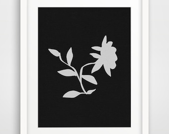 FLOWER Art Prints, Wall Art, MODERN Floral Wall Decor, Black and White Art, Art Print,Modern Botanical Wall Print, Minimal Flower Wall Print