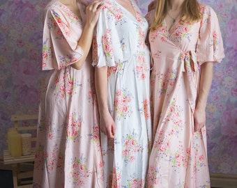 Blush Dress Robes in Faded Flowers Pattern in Premium Rayon