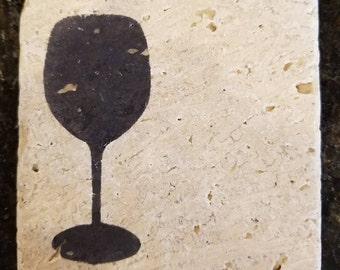 Wine Glass Stone Coasters (Set of 4)