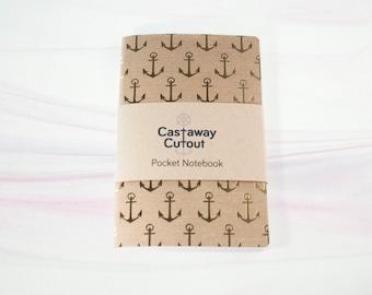 Anchor pattern A6 notebook. Gold foil nautical design. Boho shabby chic journal. Moleskin pocket size. Custom paper option. Beach decor gift