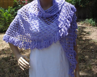 Lacy Fringe Shawl / Wrap, Crochet Shawl, Summer Shawl, Light Weight Shawl, Summer Cover Up, All Occasion Shawl