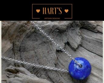 Blue Sodalite Gemstone Argentium Silver Pendant Necklace